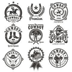 Set of vector rodeo logos