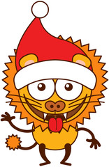 Cute yellow lion with sharp teeth, big mane and wearing a Santa hat while wide opening its eyes, waving, smiling enthusiastically, making funny faces and greeting