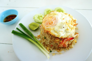 Fried rice egg and shimp with fish sauce