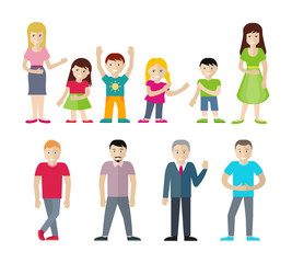 People Characters Vector Illustrations Set