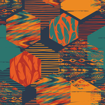 Tribal ethnic seamless pattern with geometric hexagon elements.