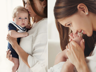 A collage of two photos-portrait of mother and baby,brunette with long straight hair,dressed in a white shirt, holding his newborn son,with curly hair,dressed in a blue sailor suit