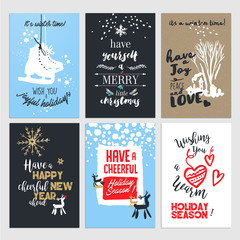 Set of hand drawn Christmas and New Year greeting cards. Flat design vector illustrations.