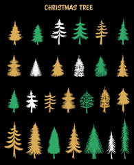 Hand drawn Christmas Tree elements.