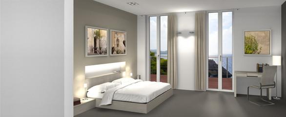 Hotelzimmer mit Balkon und Aussicht auf das Meer