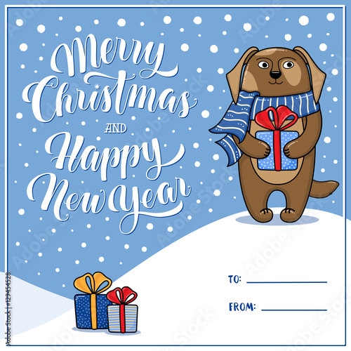 merry christmas and happy new year greeting card with dog gifts snow lettering