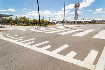 Empty street in front of Perth Airport , Western Australia.