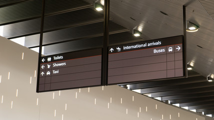 Flights information board .
