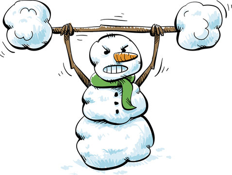 A cartoon snowman focusing on lifting a heavy barbell of snowballs.