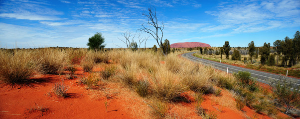 Aluminium Prints Oceania Australia Landscape : Uluru Road to Red rock of Alice Spring, Yulara, Mutitjulu