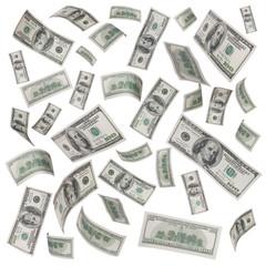 rain of dollar bills isolated on white
