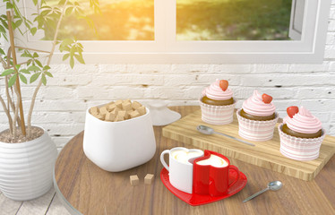 Couple heart cappuccino coffee cups with strawberry cupcake dessert on table in blurred white brick room background, concept of love and couple, 3D rendering