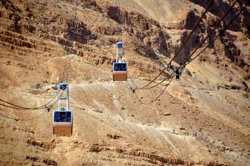 Seilbahn zum Hochplateau mit der Festung Masada