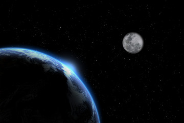 planet earth with moon Elements of this image furnished by NASA