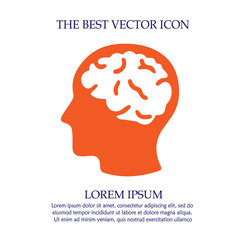 Head with brain vector icon eps 10. Simple isolated illustration.