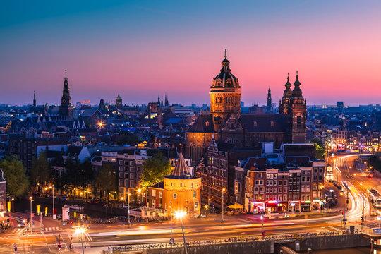 Amsterdam skyline shortly after sunset, the Netherlands