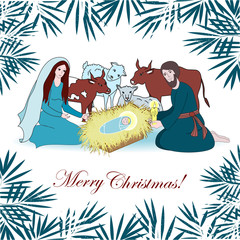 Nativity scene with saint family and animals. Cartoon vector