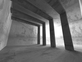 Dark empty room. Concrete rusty walls. Architecture grunge backg