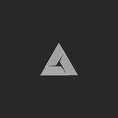Triangle logo isometric, infinity sharp corner geometric shape illusion, hipster monogram converge overlapping line infinite icon, innovation tech delta emblem
