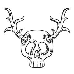 Skull with deer horns illustration.