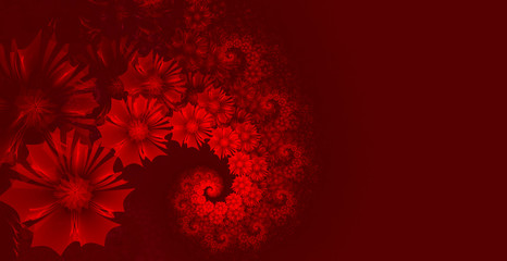 Abstract red background with flowers wrapped in a spiral