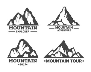 Hill landscape or mountain pick set of icons