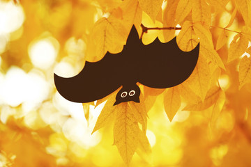 Paper bat hanging on  a tree. Halloween concept