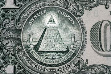 all-seeing eye. Masonic sign. Mason symbol. 1 one dollar.