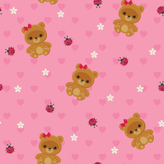 Pink floral seamless pattern with teddy bear and ladybug