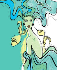 Fotobehang Piraten Illustration of Aquarius astrological sign as a beautiful girl.