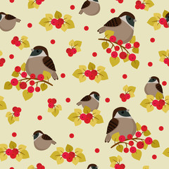 Sparrow sitting on the branch with berries seamless pattern