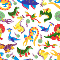 Cute baby dinosaurus pattern. Dinosaur cartoon jurassic predator vector background