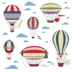 Vintage hot air balloons vector set for festival cards
