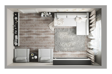 3d illustration of a top view of the living room