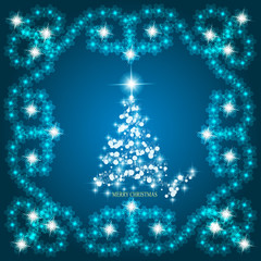 Abstract waves background with christmas tree. Illustration in blue and white colors.