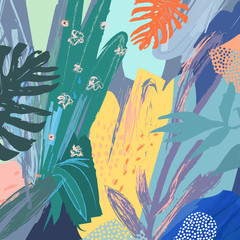 Creative universal floral header in tropical style. Modern graphic design