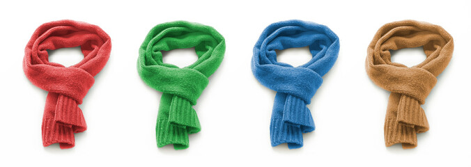 Colored warm scarf on a white background