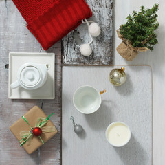 Christmas collection, gift and decorative objects. View from above.