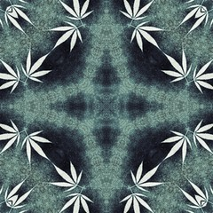 Hippie blue natural pattern design background with little ganja leafs