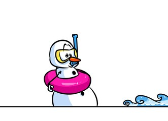 Christmas snowman character swimmer cartoon illustration isolated image