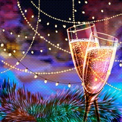 Happy New Year Card with glasses of champagne. Holiday golden background and glasses of champagne.
