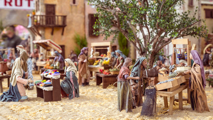 Nativity scene with hand-colored wooden figures