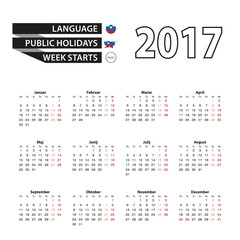 Calendar 2017 on Slovenian language. With Public Holidays for Slovenia in year 2017. Week starts from Monday.