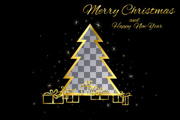 Gold christmas tree with a cut place on a black background