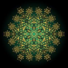 mandala gold. Decorative round ornament. Anti-stress mandala. golden flower. Weave design mandala. Yoga logo, background for meditation poster.  Indian flower mandala. Oriental flourish vector