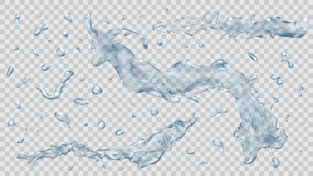 Water splashes and water drops. Transparency only in vector file