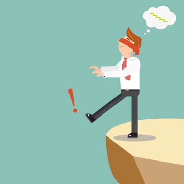 Blindfolded businessman walks off the cliff. Flat style vector illustration. Leap of faith concept.