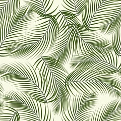 Leaves of palm tree. Seamless pattern. Vector.
