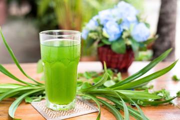 Pandan healthy drink on wood table