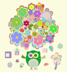 cute owl with many flowers
